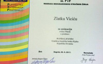 Zlatko Vicić nagrađen na 50.PIF-u za animaciju ovčice Wande